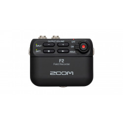 ZOOM F2 audio recorder met lavalier mic.