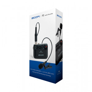 ZOOM F2 audio recorder + lavalier mic.