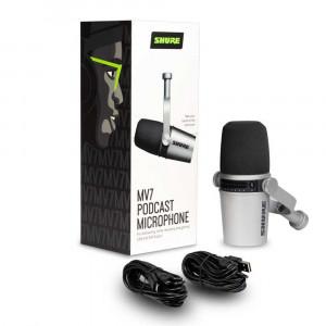 Shure MV7-K dynamische XLR/USB podcast microfoon - zilver